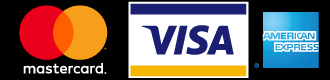 Logos of MasterCard, Visa, and American Express